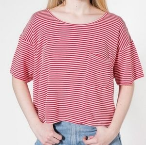 American Apparel Red White Stripe Oversize T-shirt